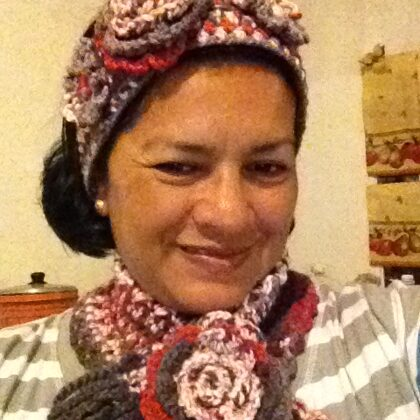 knitted shawl and headband