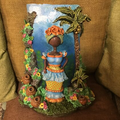 """Caribbean woman"", terracotta roof tile, decorated with cold ceramic"