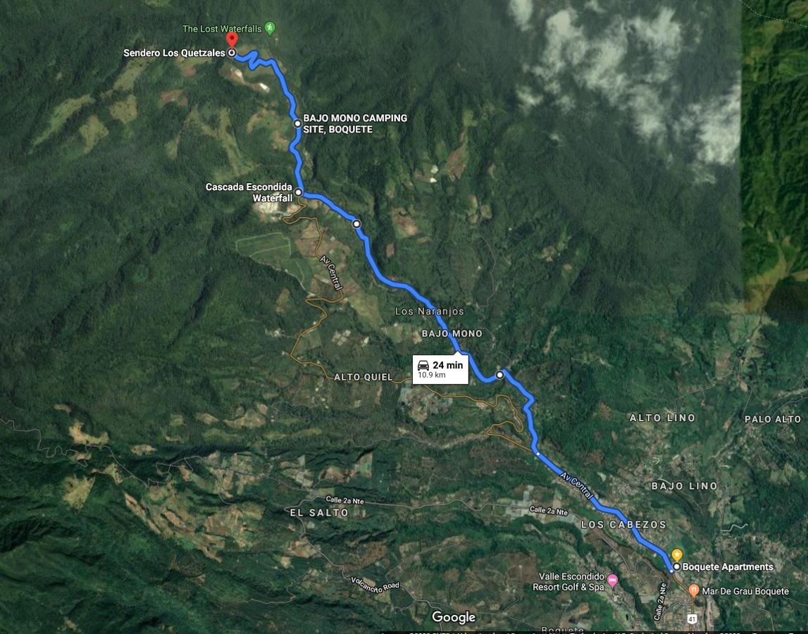 Der Weg vom Aparthotel Boquete zu den Wasserfällen Boquetes. (Google Maps)